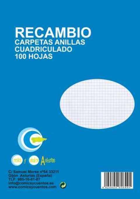 Comics y Cuentos - RECAMBIO FOLIO 100 H CUADROS - Comics y Cuentos